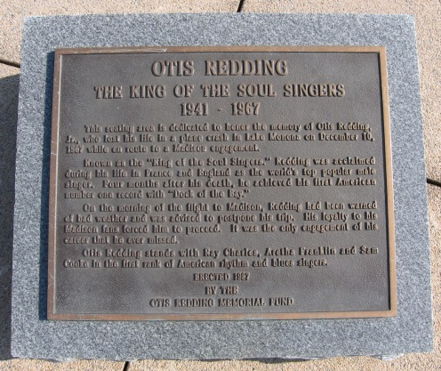 The plaque at Monona Terrace commemorating Redding's death (Courtesy: SurroundedByReality.com)