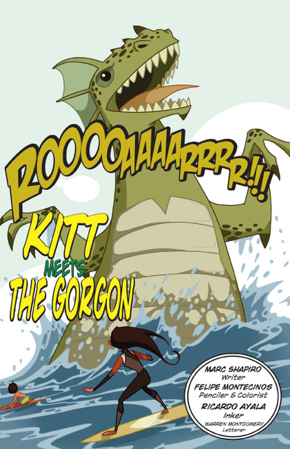 While surfing in Hawaii one fine day, Eartha meets some thing she hadn't banked on seeing (Courtesy: Bluewater Comics)