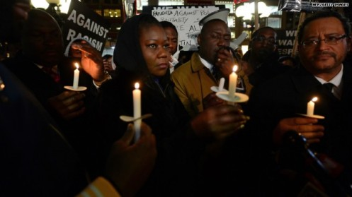 Sybrina Fulton, mother of Trayvon Martin, along with Trayvon's father, Tracy Martin, at the candlelight Vigil in Union Square, New York, marking the first anniversary of her son's death as well as the first Hoodie March called in his name (Courtesy: )