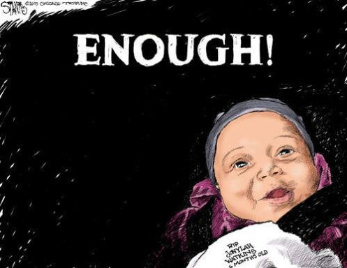 """The by now famous photo of six-month-old Jonylah Watkins in a recent political cartoon imploring gangbangers to stop shooting innocents; but that won't happen until """"No Snitching"""" goes down in flames (Courtesy: Chicago Tribune)"""