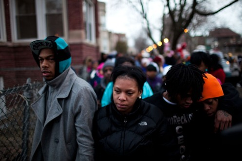 Judy Watkins at a March 12 vigil for her murdered daughter, mourning alone while her husband was still in the hospital  (Courtesy: DNAInfo)