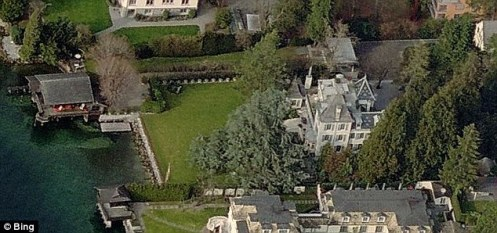An aerial photograph of Tina Turner's chateau in Kuesnacht on the banks of Lake Zurich (Courtesy: Daily Mail)