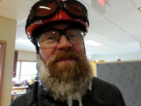 This was posted by Madison resident Toni Morrissey of one of her UW Medical Center co-workers who steadfastly biked into work today.  Yeah, it is that bad (Courtesy: Channel 3000)