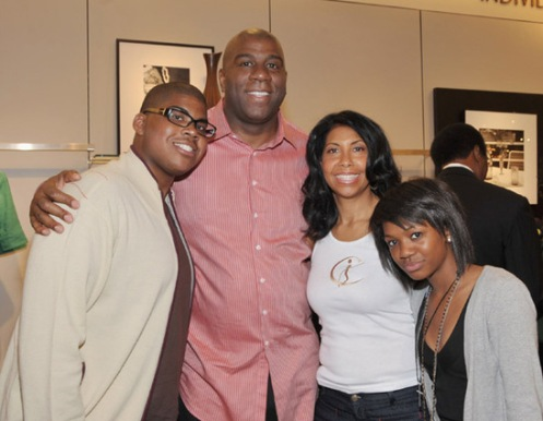 Magic Johnson and his family in 2009; from left to right is EJ, Magic, Cookie, and Elisa.  The photo was taken in L.A. near Nordstrom's (Courtesy: Rolling Out)