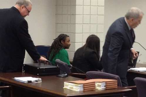 Mario McNeill, appearing in court this morning, April 8, 2013, at the start of his capital murder trail for the death of five-year-old Shaniya Davis (Courtesy: Fayetteville Observer)