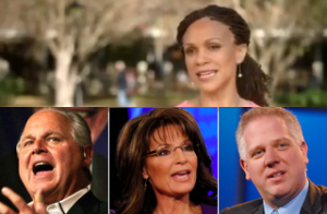 Melissa Harris-Perry or MHP, and the right-wing detractors arrayed against her; guess who won this round (Courtesy: Mediaite)