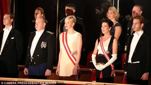 The royals at a recent Monaco National Day ceremony; from left to right: Pierre Casiraghi, Prince Albert, Princess Charlene, Princess Caroline and Andrea Casiraghi (Courtesy: Daily Mail)