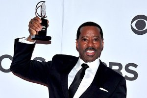 The third time around wins; Courtney B. Vance hoists his Tony in victory Sunday night, June 9 (Courtesy: Los Angeles Times)