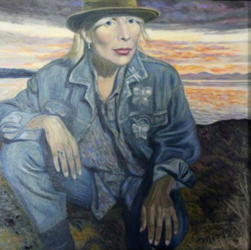 One of Joni Mitchell's self portraits that hangs in her L.A. home near her easel.  This woman has always been beautiful and informed by beauty (Courtesy: CBC Radio)