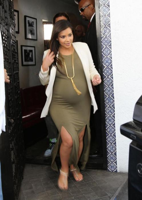Kim Kardashian, top heavy with the baby daughter she gave birth to this afternoon in Los Angeles, CA; mother, daughter, and father are doing well I suppose (Courtesy: N.Y. Daily News)