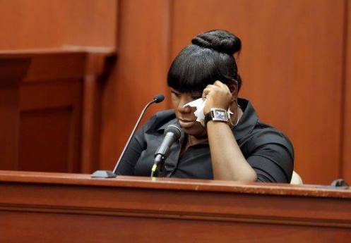 Rachel Jeantel crying on the witness stand (Courtesy: Justice for Trayvon Martin on Facebook)