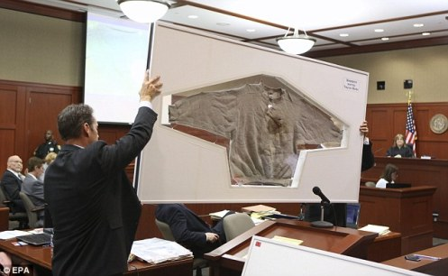 The sweatshirt Trayvon wore the night he was murdered (Courtesy: Daily Mail)