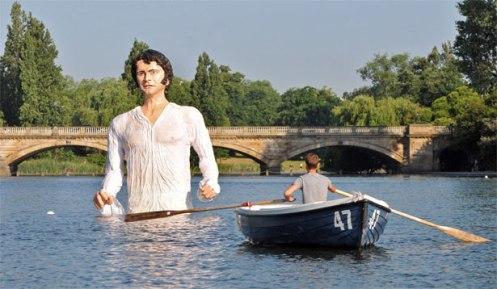 The fiberglass statue of Mr. Fitzwilliam Darcy will remain in the Serpentine until February, 2014 (Courtesy: AP)