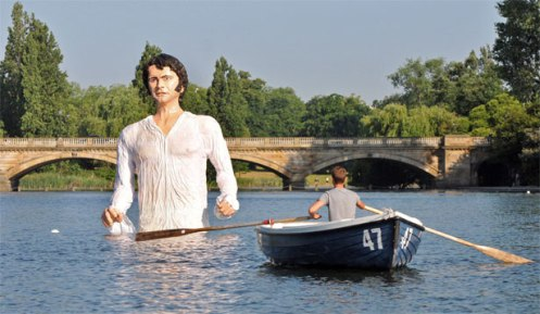 The fiberglass statue of Mr. Fitzwilliam Darcy will remain in the Serpentine until February, 2014 (Courtesy: AP)