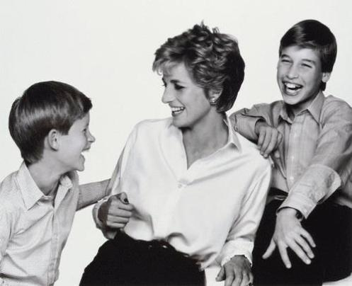 Diana, Princess of Wales, with her sons the Princes William and Harry, sharing a laugh; she loved her boys and no doubt, would have been in ecstacies over the birth of her grandchild (Courtesy: Prince Harry on FB)