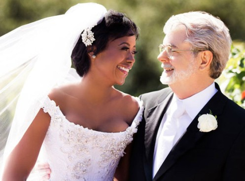 Mellody and George Lucas on their wedding day in June 2013; now they are a dad and a mom; better late than never (Courtesy: E!)