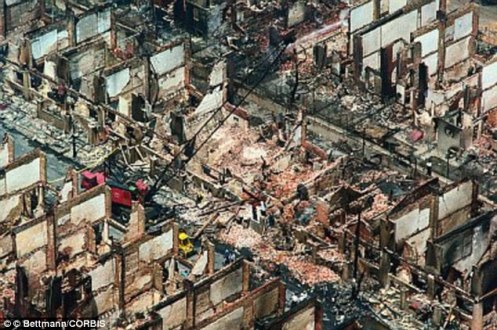 The aftermath of the C4 attack on the MOVE compound in Philadelphia in 1985 that enveloped an entire city block (Courtesy: Daily Mail)